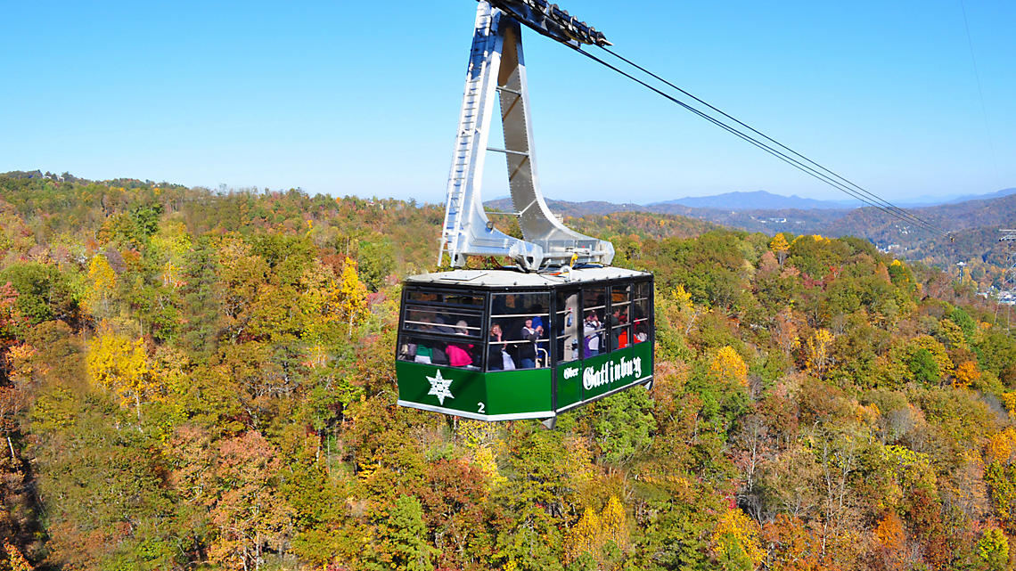 Ober Gatlinburg tram during fall time