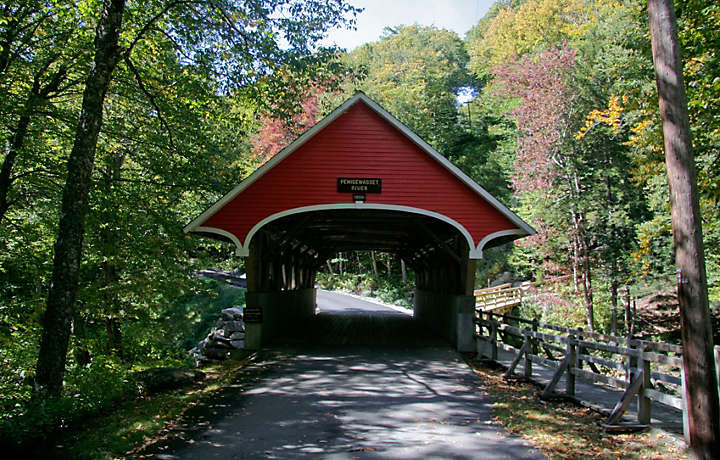 Covered bridge in New Hampshire countryside