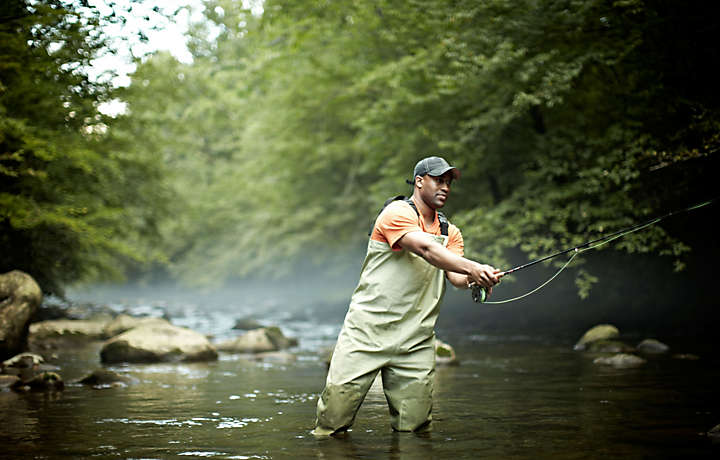 Man Fly Fishing in a Georgia River