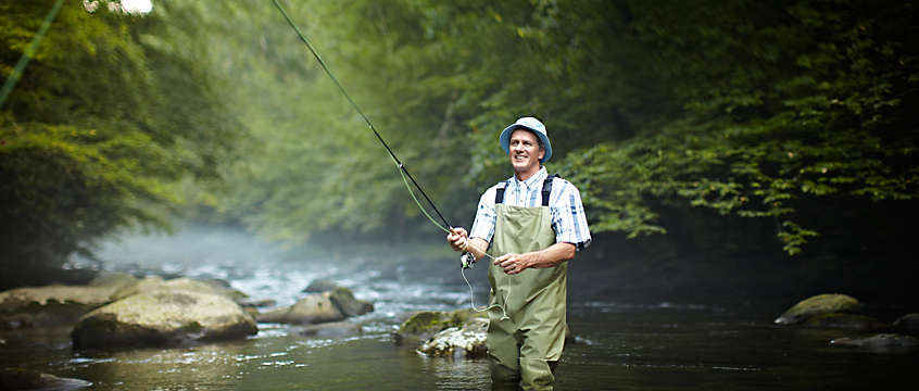 Man fly-fishing in Pigeon Forge, TN
