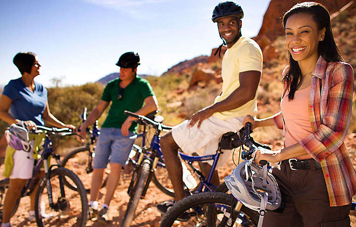 Family on bikes in Nevada desert