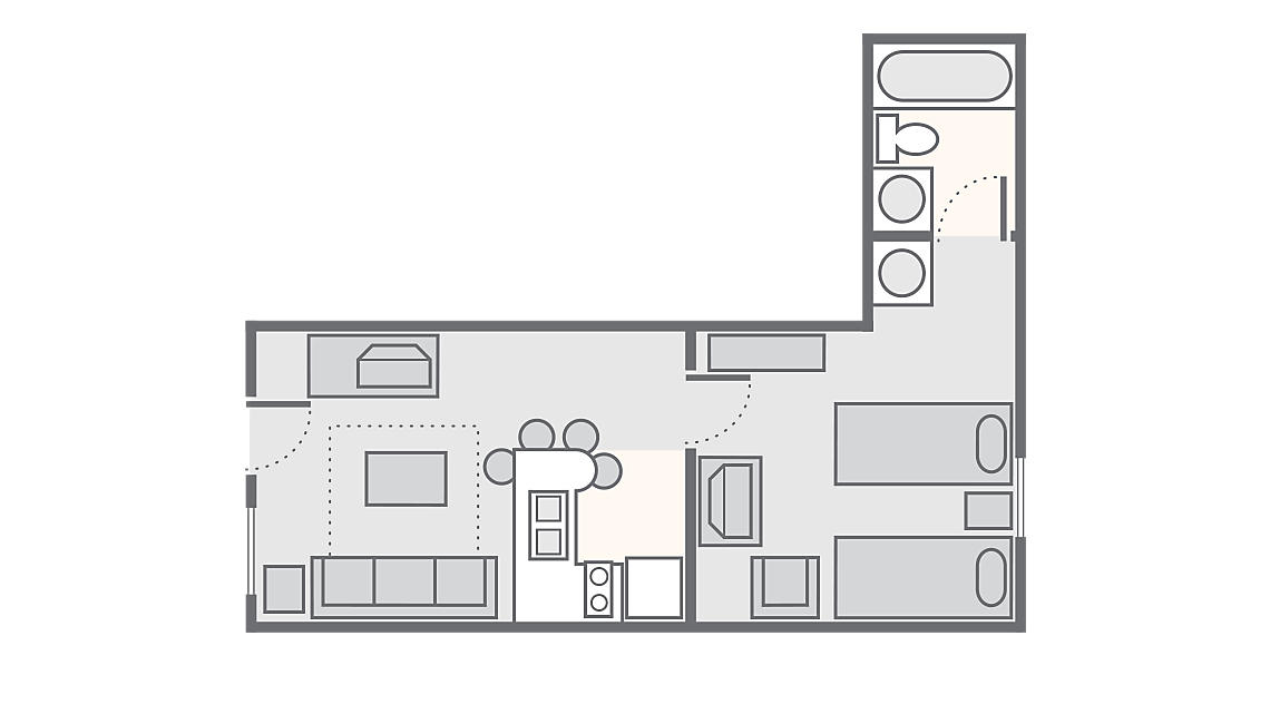 1 Bedroom 430 SQ FT