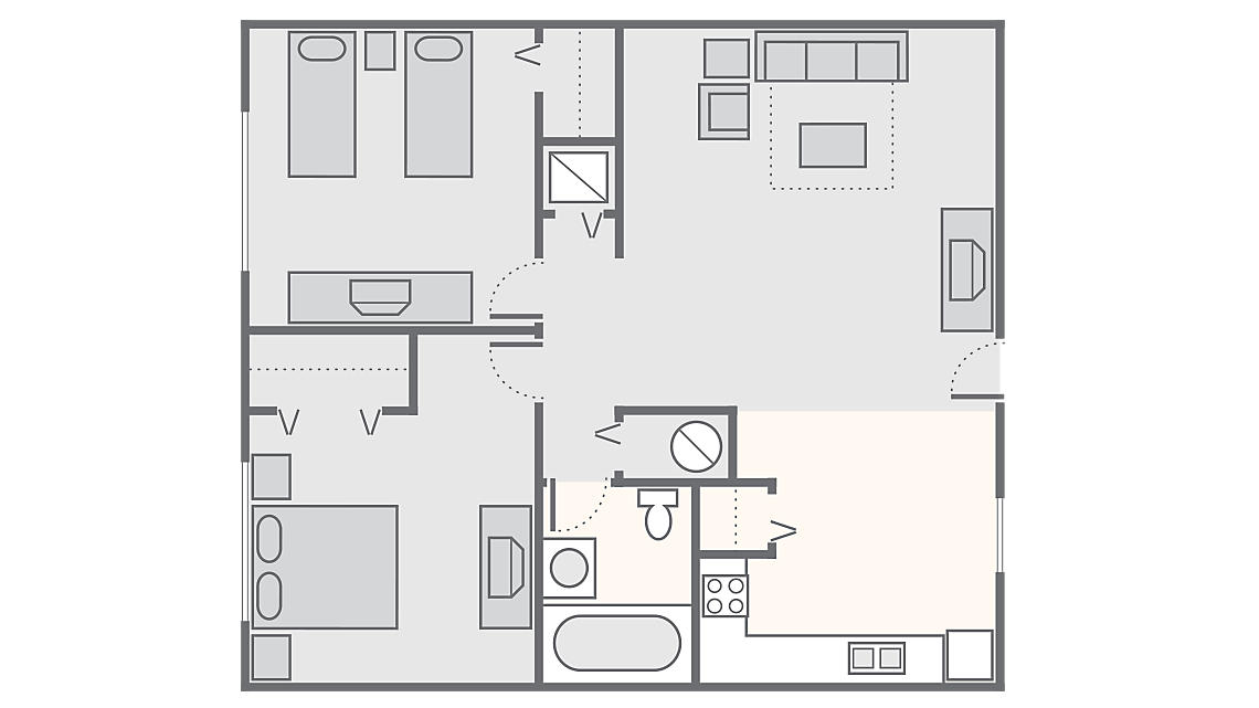 2 Bedroom Deluxe 550 SQ FT