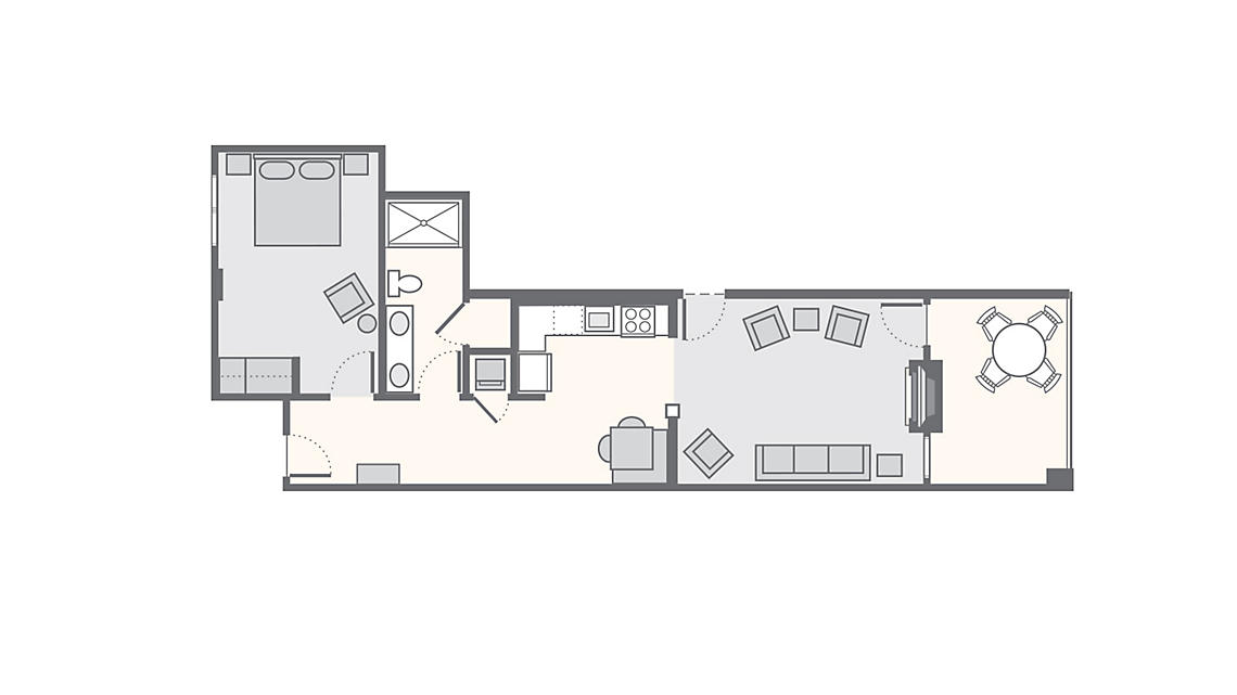 1 Bedroom 826 SQ FT