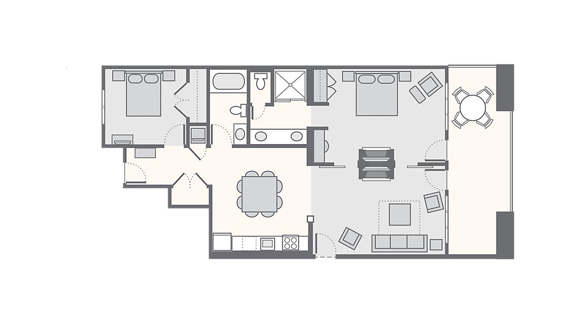 2 Bedroom 1,232 SQ FT