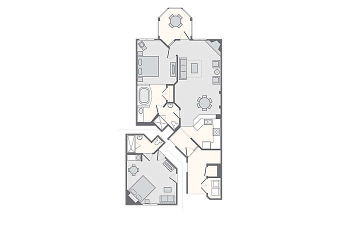 Paradise Point 2 Bedroom Combo, 1,257 sq ft.