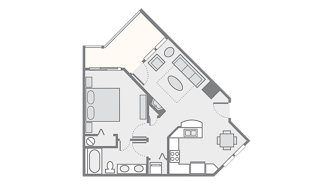1 Bedroom Deluxe 654 SQ FT