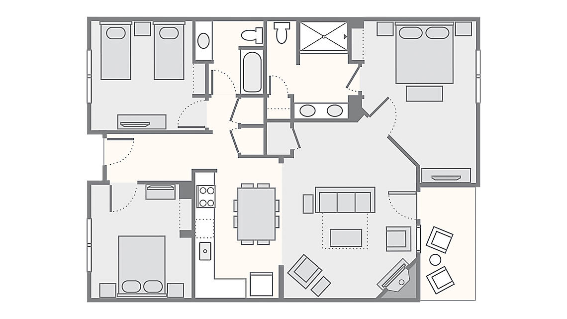 3 Bedroom 1,188 SQ FT