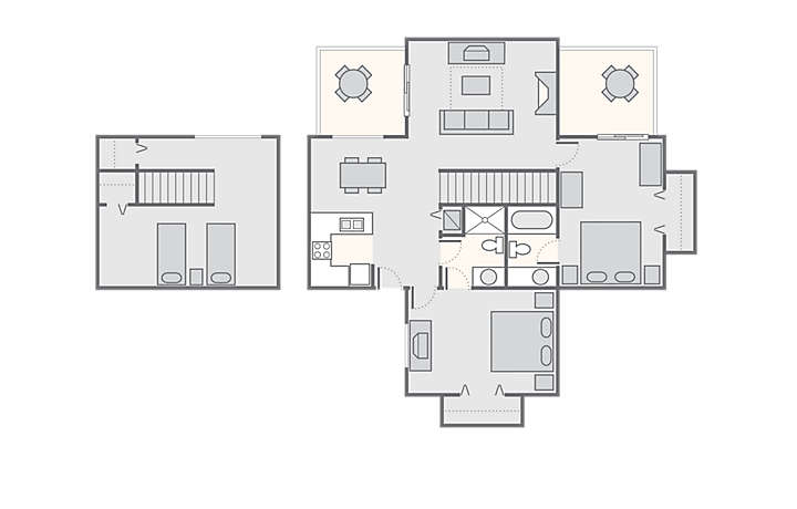 Petit Crest Villas at Big Canoe 2 Bedroom with Loft, 1,200 sq ft.
