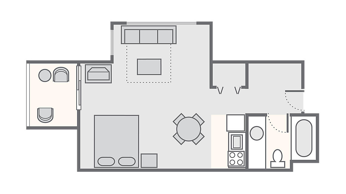 Studio 350 SQ FT