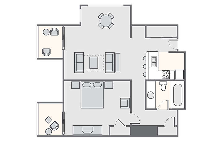 Players Club 1 Bedroom, 650 sq ft.
