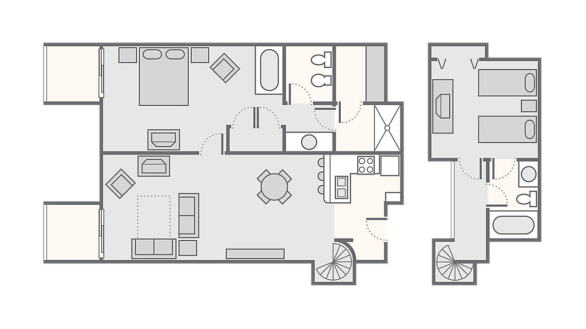 2 Bedroom Loft 900 SQ FT