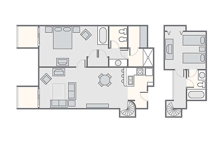 Players Club 2 Bedroom Loft, 900 sq ft.