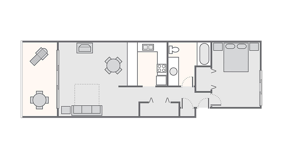 1 Bedroom 740 SQ FT