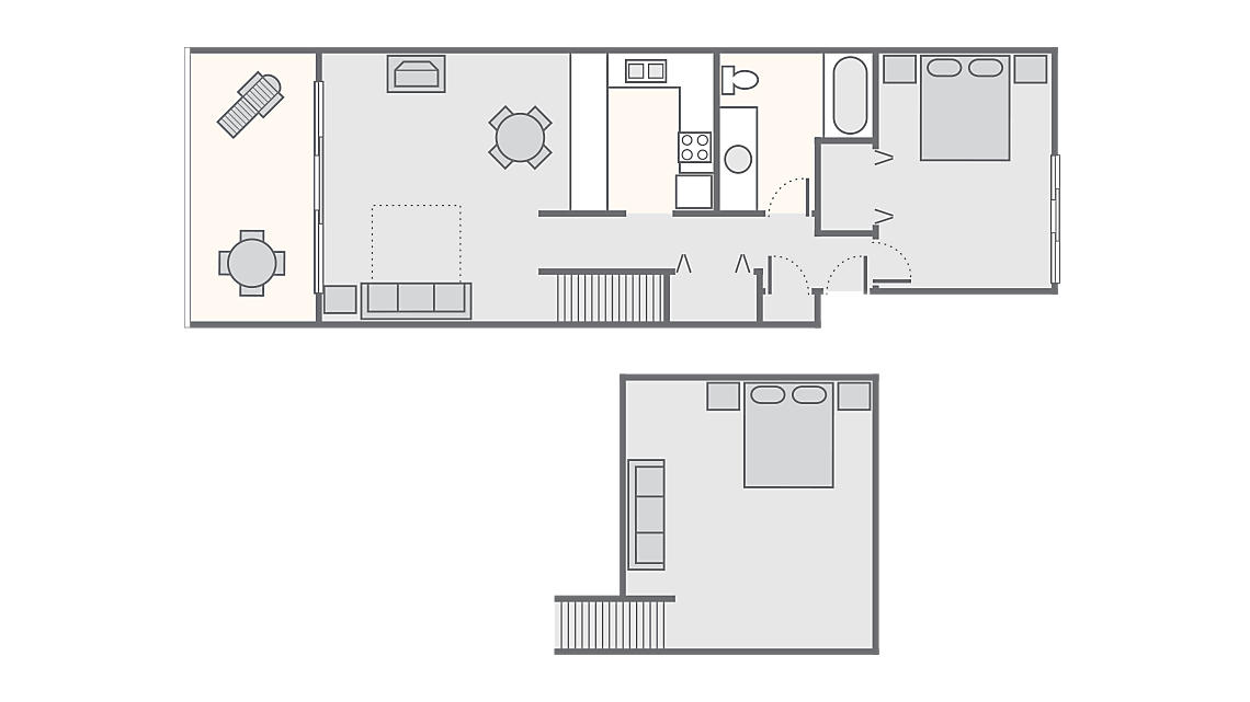 1 Bedroom 1 Bath with Loft 1,011 SQ FT