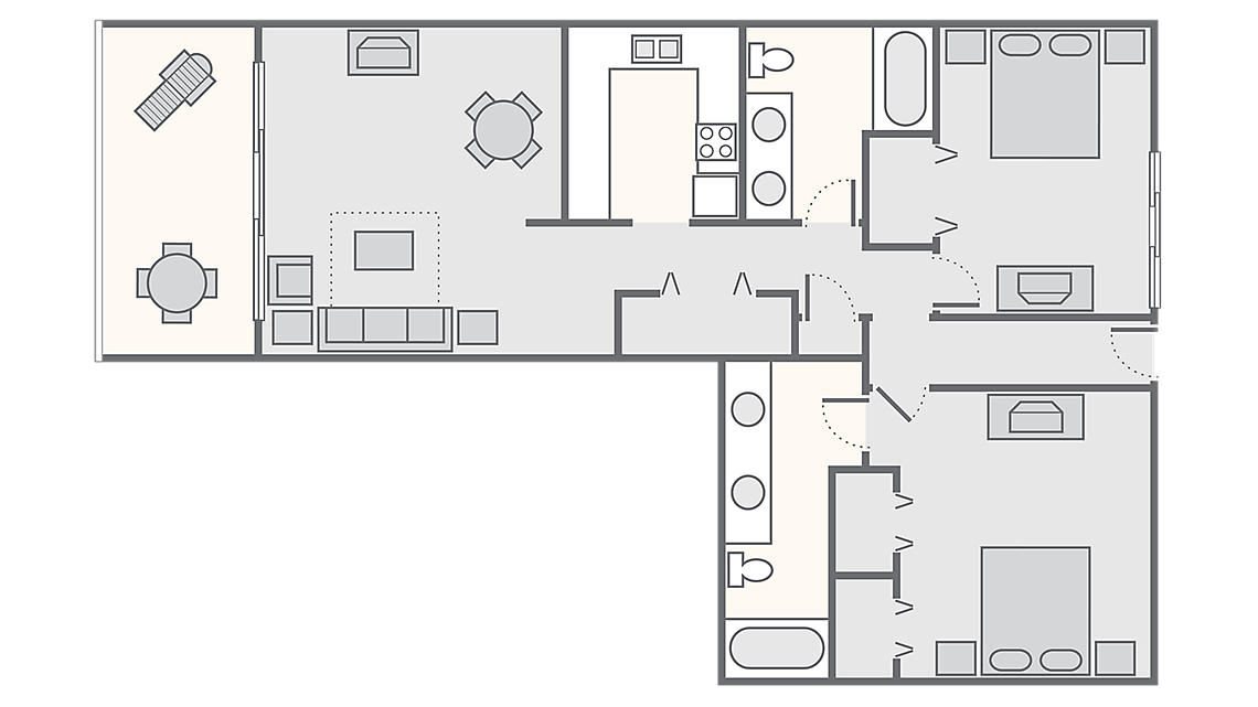 2 Bedroom 2 Bath 1,132 SQ FT