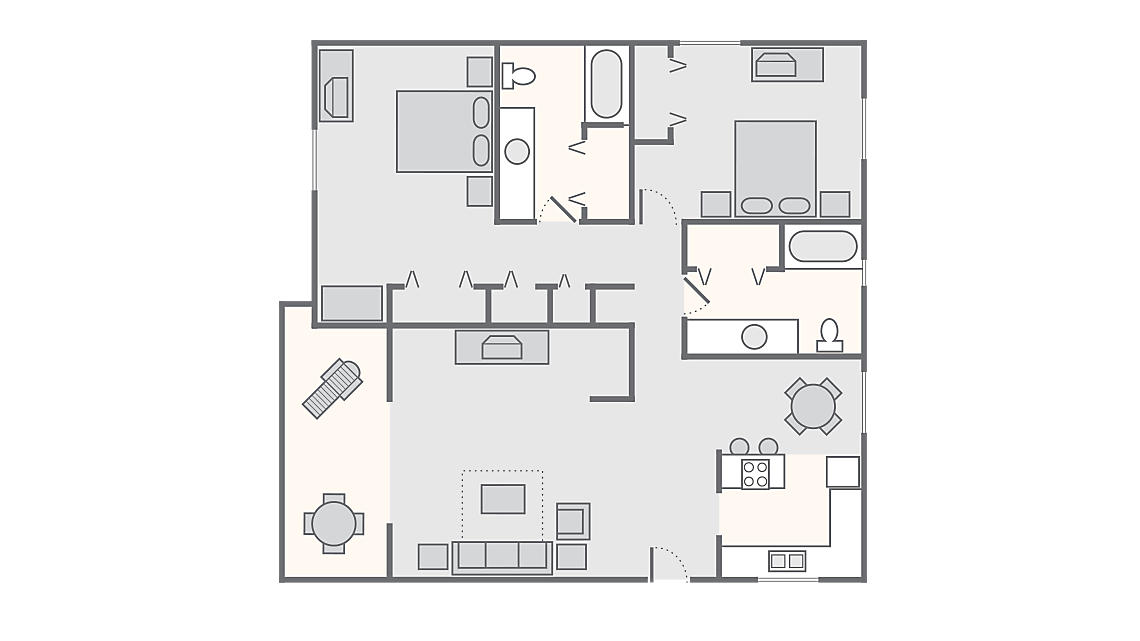 2 Bedroom 2 Bath 1,403 SQ FT