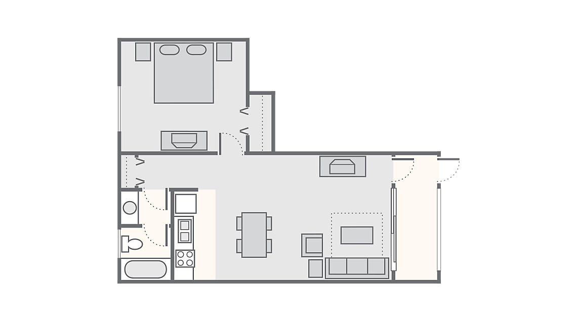 1 Bedroom 532 SQ FT