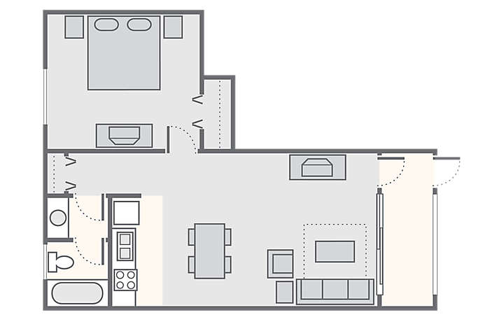 Resort Sixty-Six 1 Bedroom, 532 sq ft.