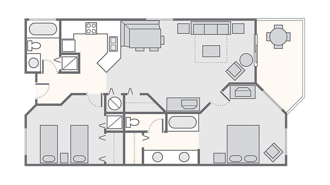 2 Bedroom - Phase II 1,019 SQ FT
