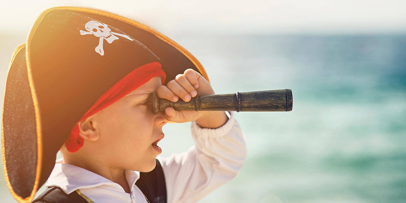Boy dressed up as a pirate for the Sea Dragon Pirate Cruise