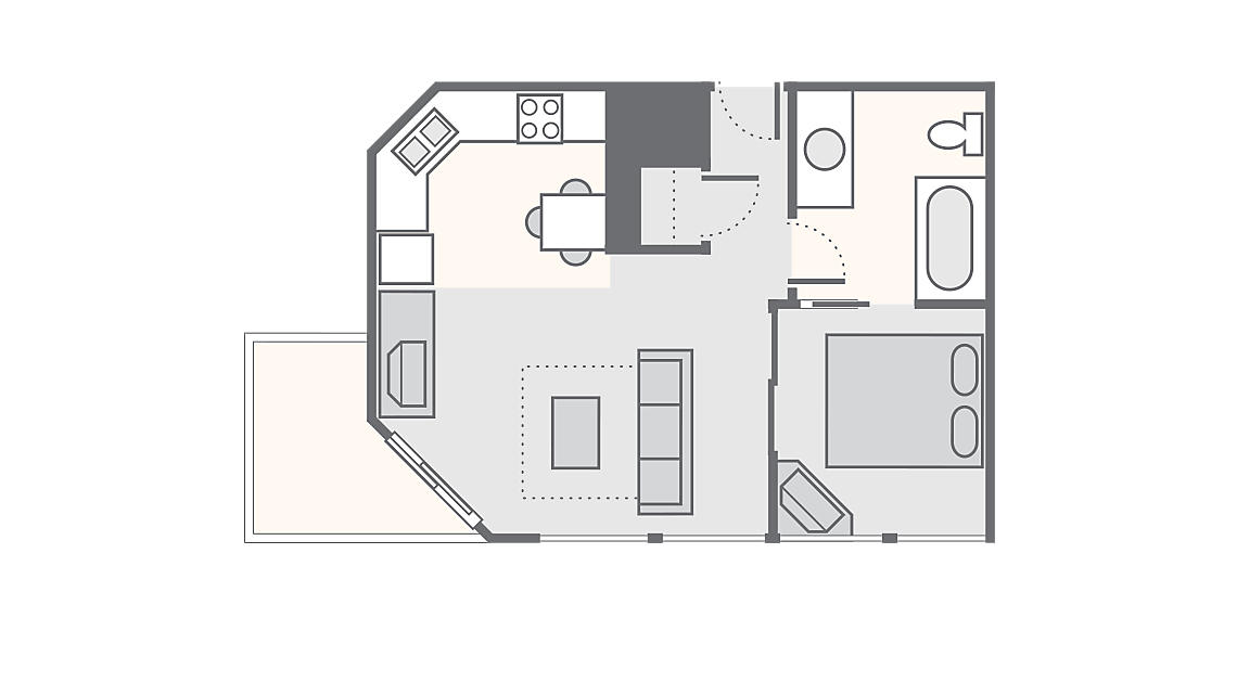 1 Bedroom Standard 368 SQ FT