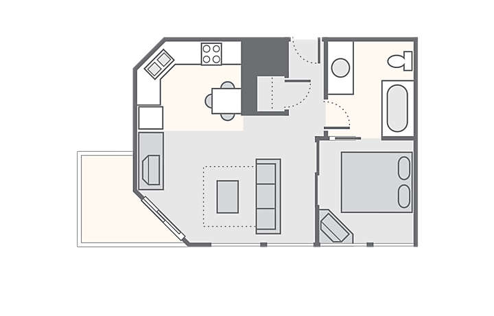 SeaGlass Tower™ 1 Bedroom Standard, 368 sq ft.