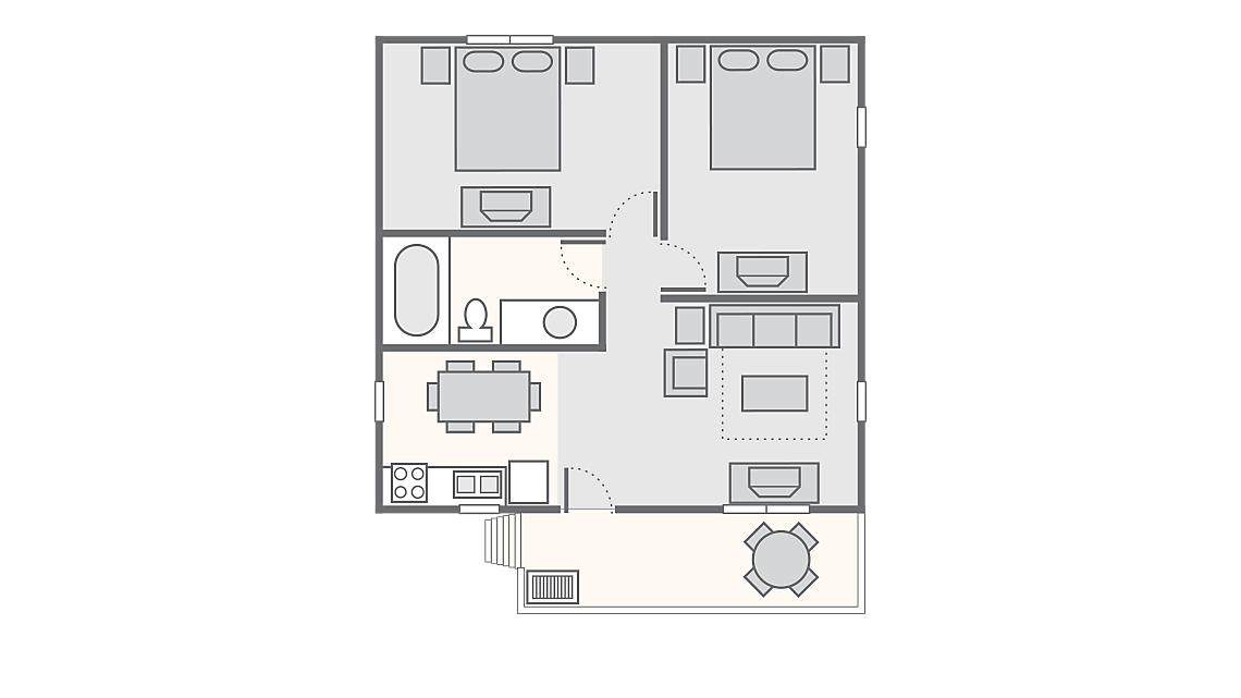 2 Bedroom Resort Cabin 657 SQ Ft