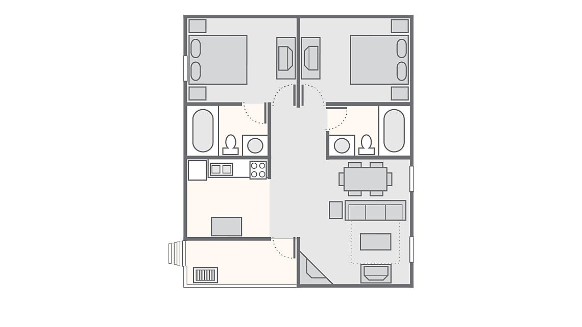 2 Bedroom Grand Cabin 983 SQ FT