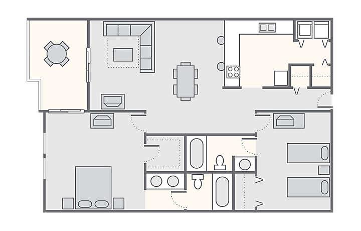 Shoreline Towers 2 Bedroom, 1,450 sq ft.