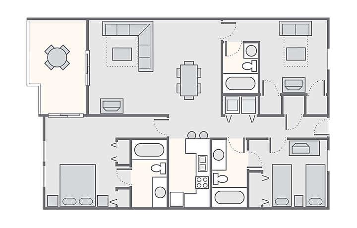 Shoreline Towers 3 Bedroom, 1,450 sq ft.