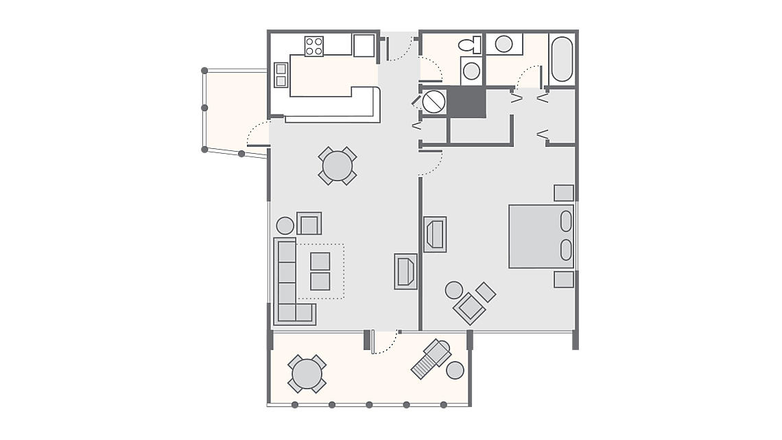 1 Bedroom 822 SQ FT