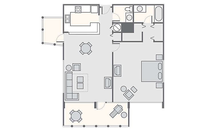 Solara Surfside™ 1 Bedroom, 822 sq ft.
