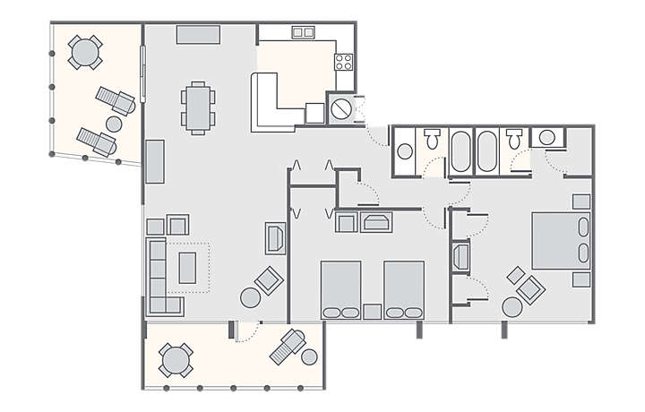 Solara Surfside™ 2 Bedroom Deluxe, 1,378 sq ft.