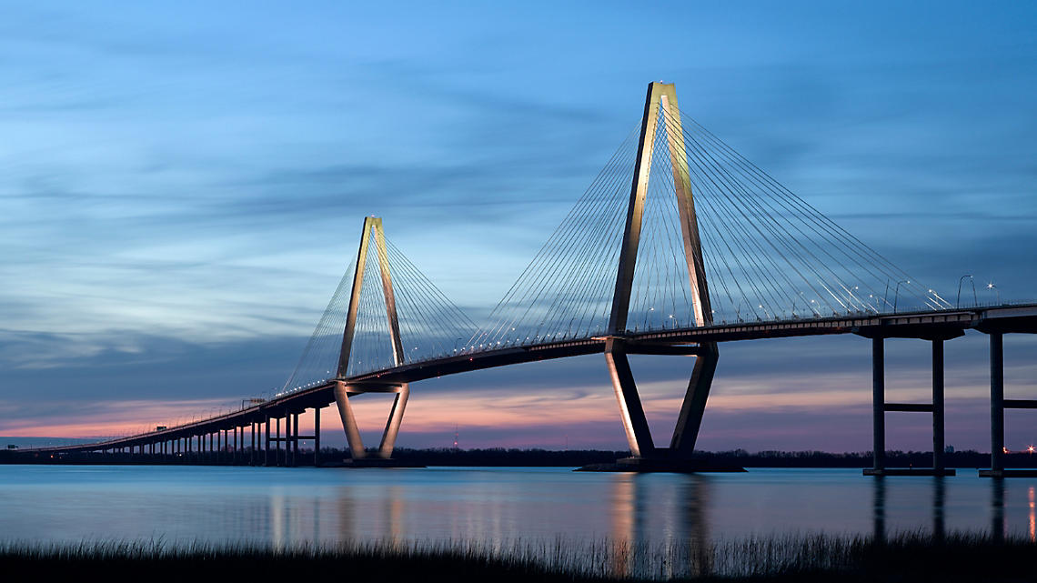 The Arthur Ravenel Jr. bridge spans high over the Cooper River