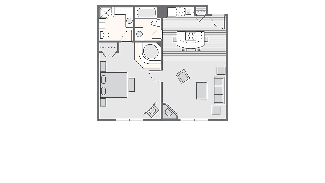 1 Bedroom Suite 619 SQ FT