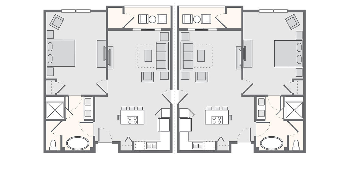 2 Bedroom Combo (1Bed+1Bed) 1,238 SQ FT