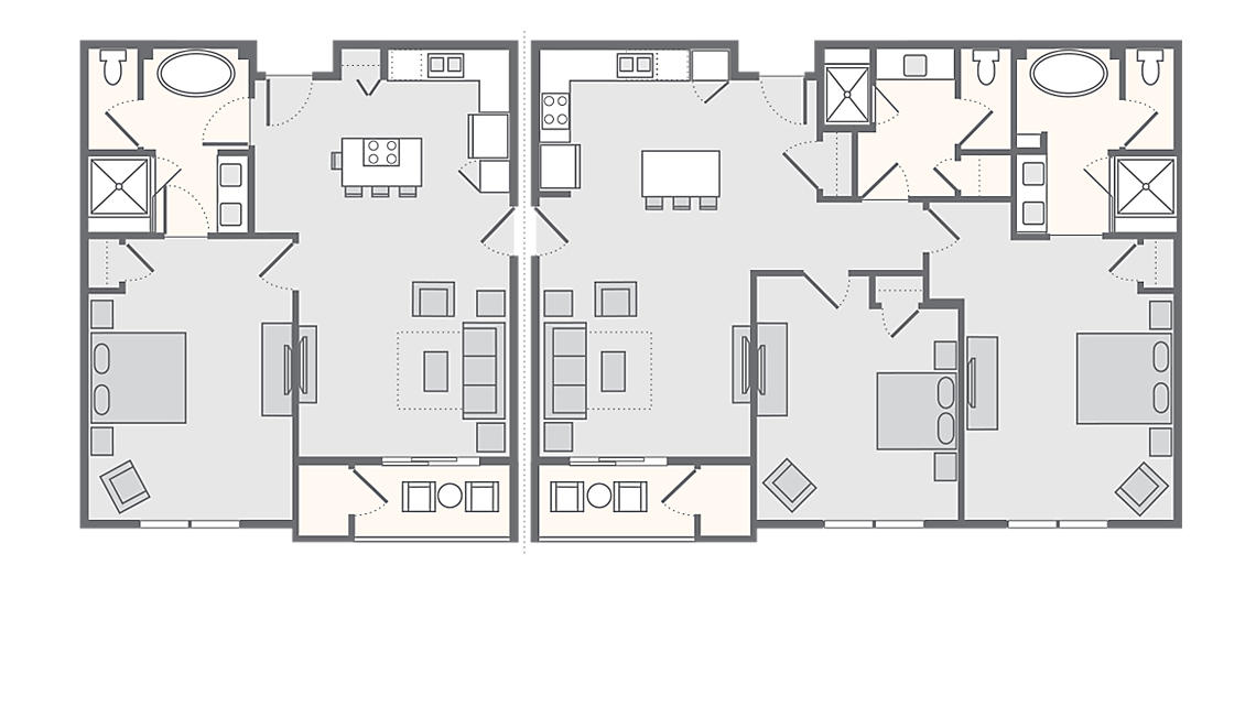 3 Bedroom Combo (1Bed+2Bed) 1,815 SQ FT