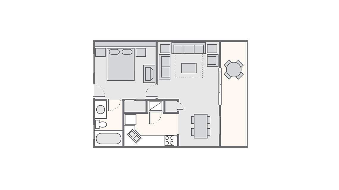 1 Bedroom 375 SQ FT