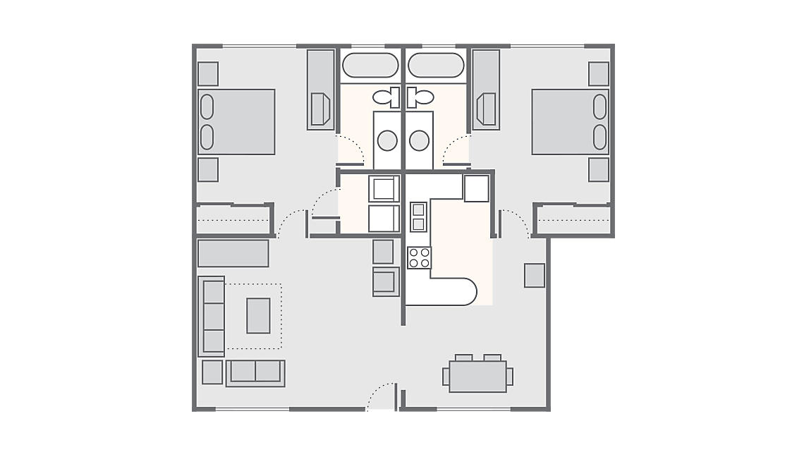 2 Bedroom 730 SQ FT