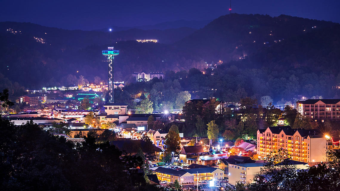 Tennessee Gatlinburg at night with incredible lights