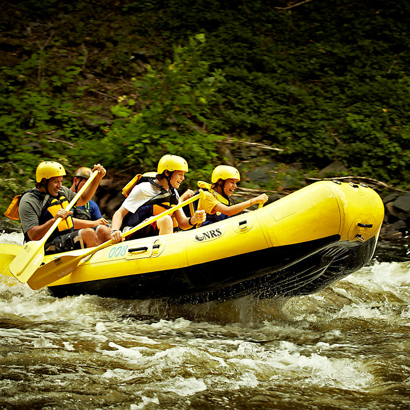 People white water rafting in Smoky Mountains