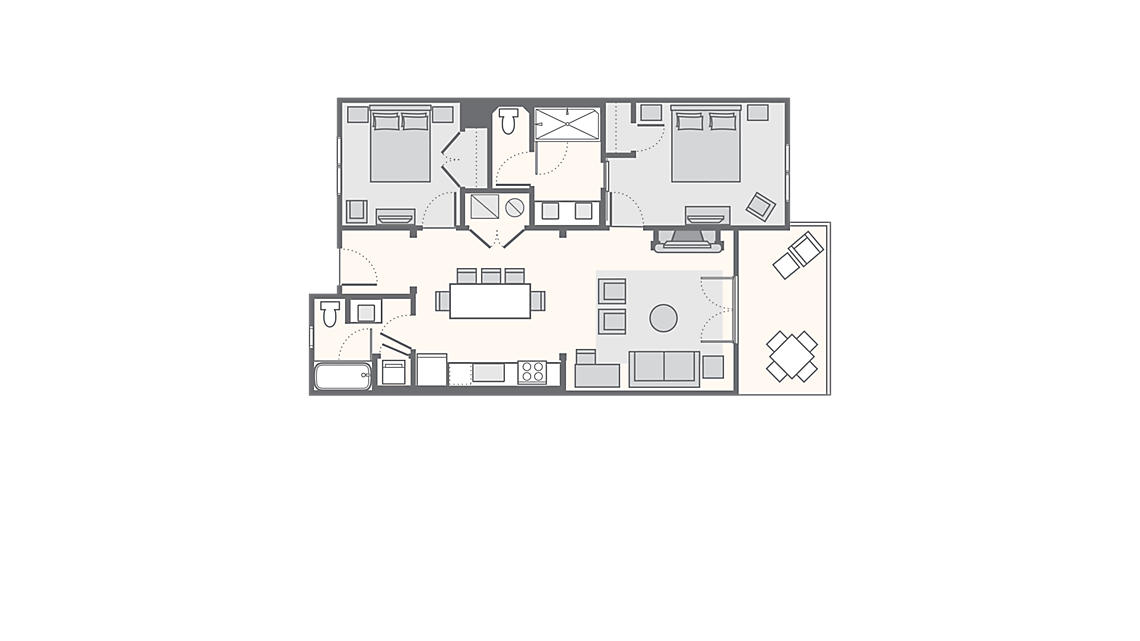 Lodge 2 Bedroom Villa 1,184 SQ FT
