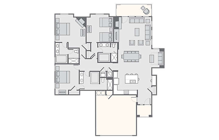 The Club at Big Bear Village - 3 Bedroom Presidential, 2,045 sq ft.