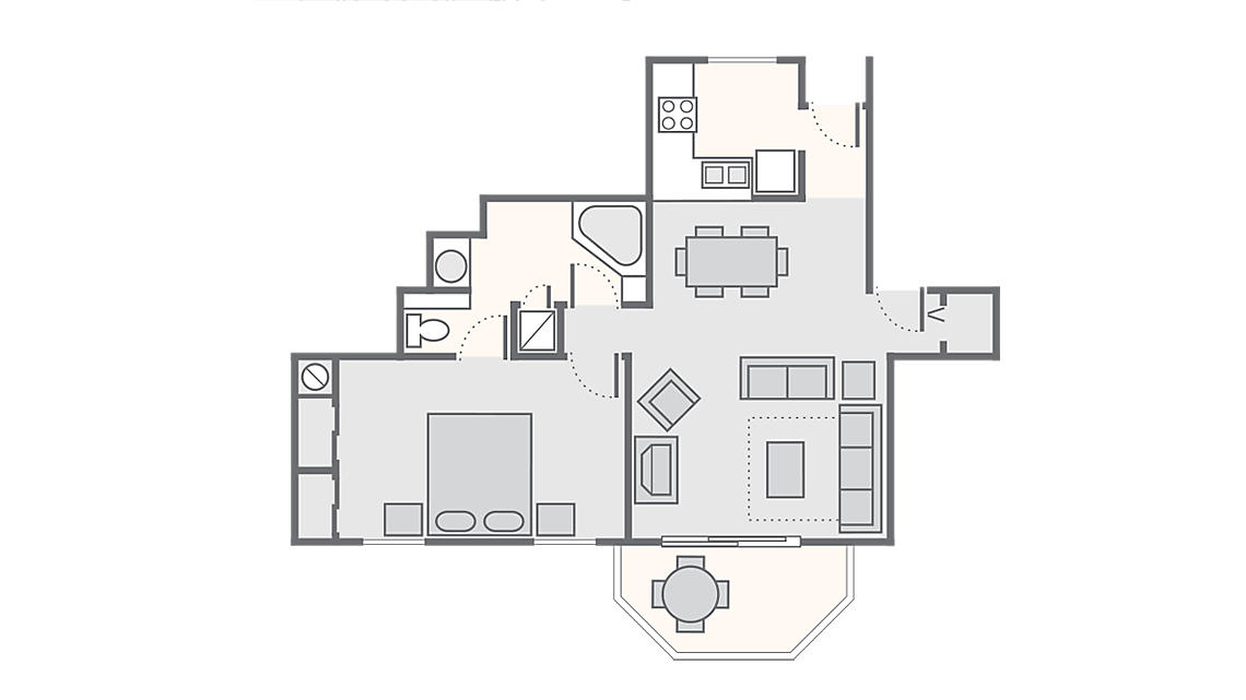 1 Bedroom 906 SQ FT