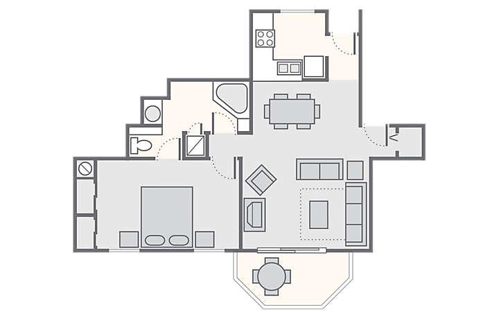 The Falls Village™ 1 Bedroom, 906 sq ft.