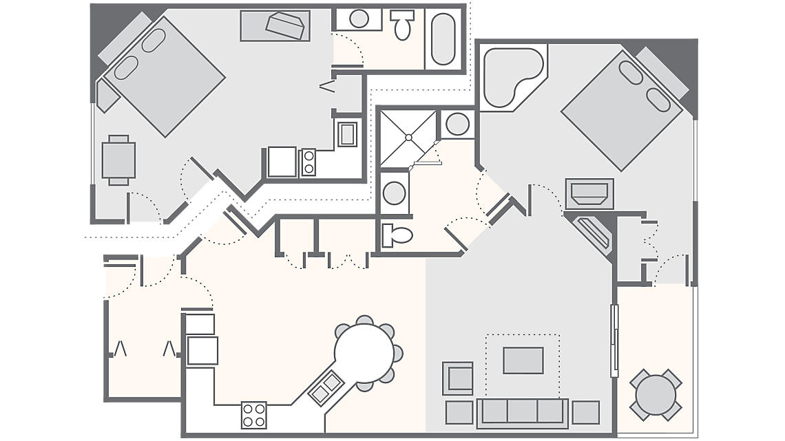 Combined 2 Bedroom 1,262 SQ FT (Studio 356 SQ FT, 1 Bedroom 906 SQ FT)