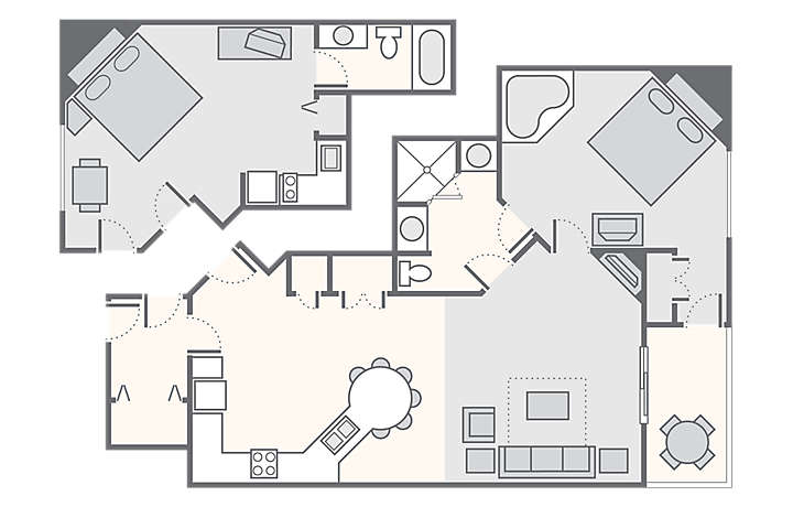 The Falls Village™ Combined 2 Bedroom, 1,262 sq ft.