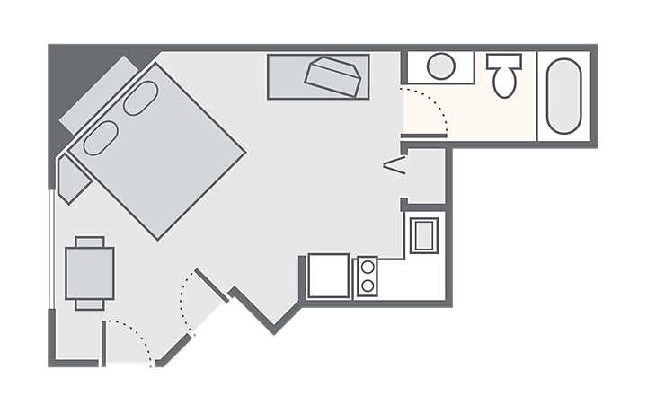 The Falls Village™ Studio, 356 sq ft.