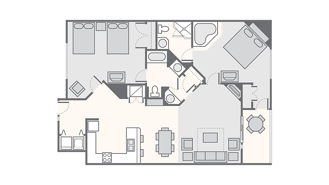 2 Bedroom Deluxe 1,378 SQ FT